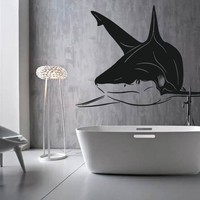 ik1218 Wall Decal Sticker white shark sea predator fish bathroom