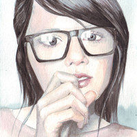 Original watercolor fashion illustration art Portrait with Reading Glasses painting