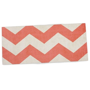 "Ann Barnes ""Vintage Coral"" Orange Chevron Desk Mat"
