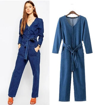 Stylish V-neck Long Sleeve Waistband Denim Women's Fashion Jumpsuit [5013122180]