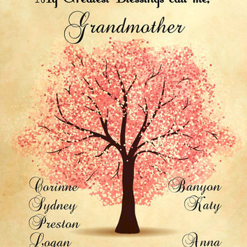 Personalized Mothers Day Mother or Grandmother Tree Keepsake Print Digital Art Graphics