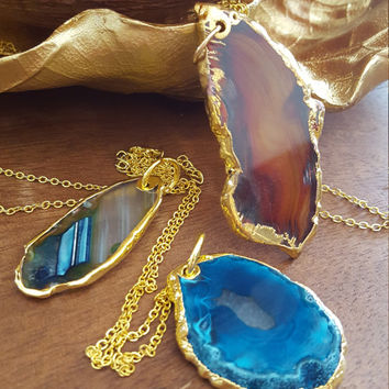 Natural stone Quartz gold plated necklace irregular stone pendant statement necklace
