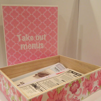 Take out menu box- Great bridal shower gift, or new home gift! Can personalize with new last name!