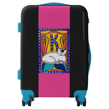 Peace and Love Valentine Cat Art Luggage