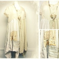 Long Cotton Tunic, Shabby Chic Clothing, Shabby Chic Dress, Mori Girl, Lagenlook Clothing, Sustainable Clothing, Upcycled Clothing for Women