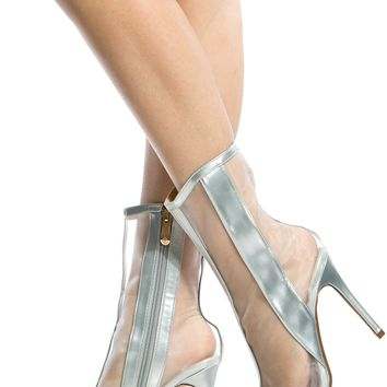 Silver Faux Leather Mesh Contrast Heels @ Cicihot Heel Shoes online store sales:Stiletto Heel Shoes,High Heel Pumps,Womens High Heel Shoes,Prom Shoes,Summer Shoes,Spring Shoes,Spool Heel,Womens Dress Shoes
