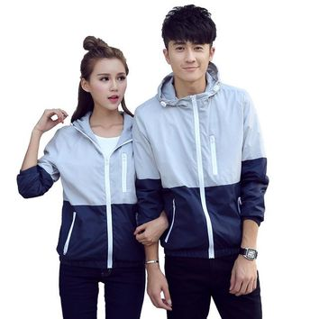 New Autumn Women/Men  Patch Hiking Jacket Outdoor Sport Waterproof Running Climbing Windbreaker Reflective Thin Coat