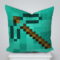 Pickaxe Minecraft Square Pillow Cover, Pillow Case, Cushions Pillow Cover, Home Decor Pillow, Bed Pillow, Bedding, Housewares