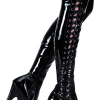 Delight 3050 Black Patent Thigh High Boot