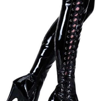 "Delight 3050 Black Patent Thigh High Boot - 6"" High Heels"