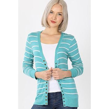 Snap Up Cardigan - Striped Teal