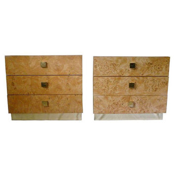 Vintage Pair Milo Baughman style Brass and Burl Wood Chests Nightstands