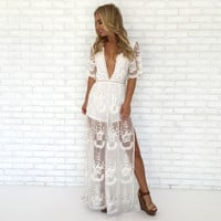 White & Dine Embroidered Maxi Dress