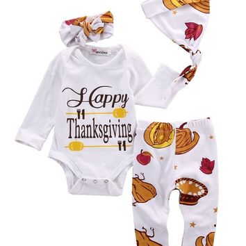 3pcs Cute Thanksgiving Newborn kids letter set Autumn Winter Baby Boys Girls Long Sleeve Romper+ Pants hats headset Outfits