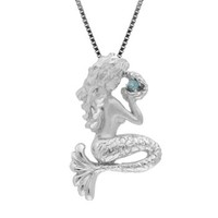 Sterling Silver and Blue Topaz Mermaid Necklace Pendant with Box Chain