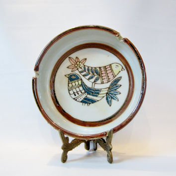 Vintage Stoneware Ashtray BIRDS Japan
