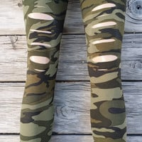 Camouflage Cut Out Slash Leggings One Size Fits Most