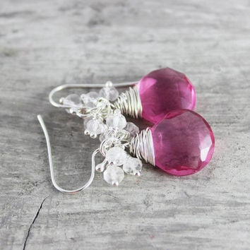 Pink Quartz Earrings, Sterling Silver Earrings, Rose Gemstone Earrings, Wire Wrap Earrings, Rose Quartz Earrings, Pink Dangle Earrings