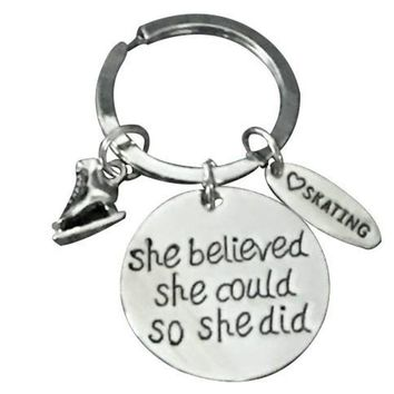 Figure Skating Keychain - She Believed She Could So She Did