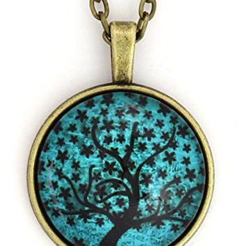 Tree Art Necklace Vintage Gold Tone Teal Blue Cabochon NY11 Art Pendant Blue Fashion Jewelry