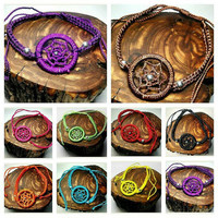 Handmade Dreamcatcher Bracelets Boho Black Turquoise Purple Red Orange Yellow Green Magenta Brown Adjustable Sliding Knot Jewelry Jewelry