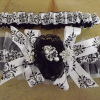 Toile and Tulle Parisian Chic Toile Wedding Garter Set, Black and White Couture OOAK Goddess Collection