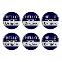 Bryson Hello My Name Is Plastic Resin Button Set of 6