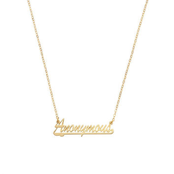 Anonymous Name Plate Necklace Available in Gold and Silver