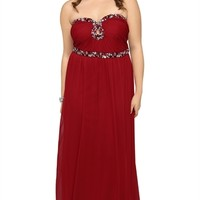 Plus Size Homecoming Dress with Strapless Stone Keyhole Neckline