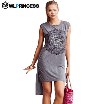 Owlprincess Fashion Irregular Mini Shift Dress Elephant Print Summer Women Dresses Sleeveless Bohemian Loose T shirt Vestidos