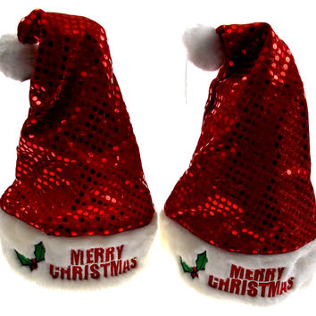 Set 2 Santa Hats Adult Merry Christmas Red Holly Sequins Plush Christmas Holiday