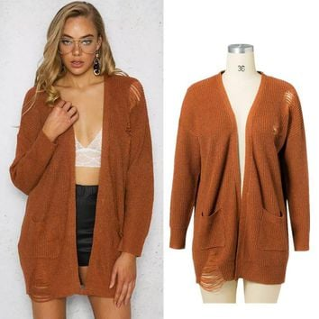 Women's Fashion Knit Tops Ripped Holes Jacket [31066259482]