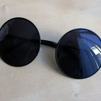 Black Oversized Round Circle Sunglasses