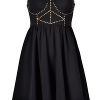 BEADED BOOBTUBE SKATER DRESS