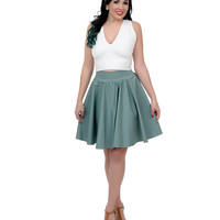 Unique Vintage Sage Green Cotton High Waist Twirl Flare Skirt