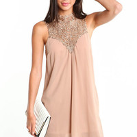 TAUPE CROCHET SHIFT DRESS