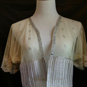 Lemon Cream Cropped Kimono, Silver Embroidered Net Wedding Bolero Shrug, S/M Vintage Bohemian Handmade Gift for Her.