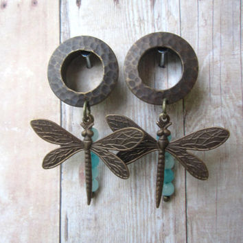 """One of a Kind Pair of Hammered Tunnels with Amazonite and Dragonfly Charms - 5/8"""" (16mm) - OOAK - Girly Plugs - Feminine Gauges"""