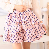 Spring Cute Purple Polka Dot Ribbon Pink Mini Skirt