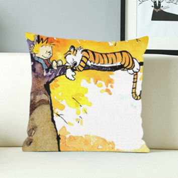 Calvin and Hobbes Sleeping - Design Pillow Case with Black/White Color.
