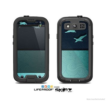 The Abstract Swirled Two Toned Green with Birds Skin For The Samsung Galaxy S3 LifeProof Case