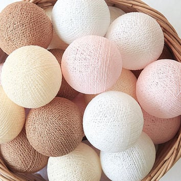 Cherry Blossom Pastel Pink Brown Cream White 20 Handmade Cotton Ball Patio Party String Lights – Fairy, Wedding, Holiday, Home Décor