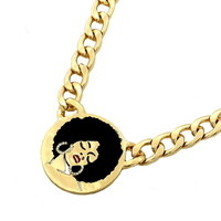 Gold Afro Lady Necklace from Chaussure Boite by B. Ayesha