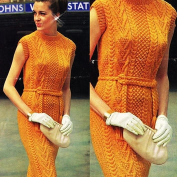Knitted Aran Sweater Dress orange dress Vintage pattern PDF Instant Download 70s mini dress knitting supplies epsteam knitting pattern pdf