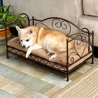 Scrolled Metal Pet Bed W/ Sherpa Plush Pillow Small To Medium Dog/Cat Bed-Bronze