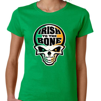 Irish To The Bone Skull women t-shirt St Patrik