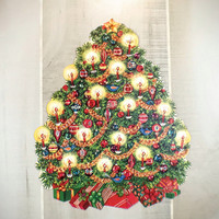 Vintage Die Cut Decorated Christmas Tree Paper Ephemera Holiday Cut Out Wall Decorations
