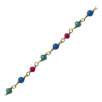"CHG-216-CO1-18"" 18K Gold Overlay Necklace With Ruby, Emerald, Sapphire Chain"