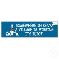 Anti Obama,village is missing it's idiot Bumper Stickers from Zazzle.com