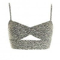 LOVE Black And White Animal Print Cut Out Bra Top - Love